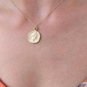 Gold Coin Necklace, Gold Pendant Ne..