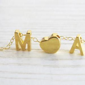 Gold Initial Necklace, Goldfilled L..