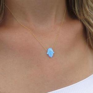 Hand necklace, Gold necklace, Opal ..