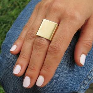 Gold Ring - Wide band ring, Adjusta..