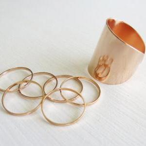 Set of 6 rose gold stacking rings w..
