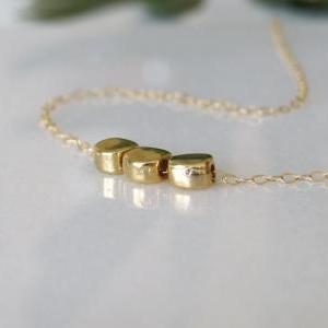 Gold Necklace - Round Necklace, Gol..