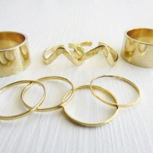 Set of 8 gold rings - Gold ring, St..