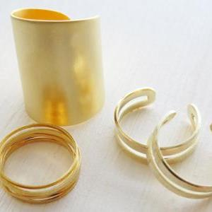 Gold knuckle ring, Set of 9 gold st..