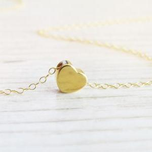Gold necklace - Tiny heart necklace..