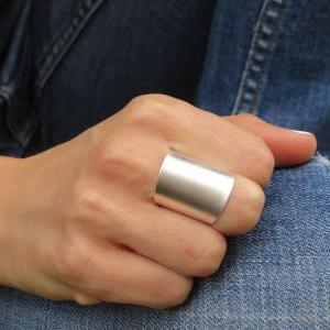 Silver ring - Wide band ring, Adjus..