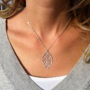 Silver Necklace - Silver Leaf Necklace, Dainty silver necklace, Everyday necklace, Simple silver jewelry, Silver pendant, Jewelry gift
