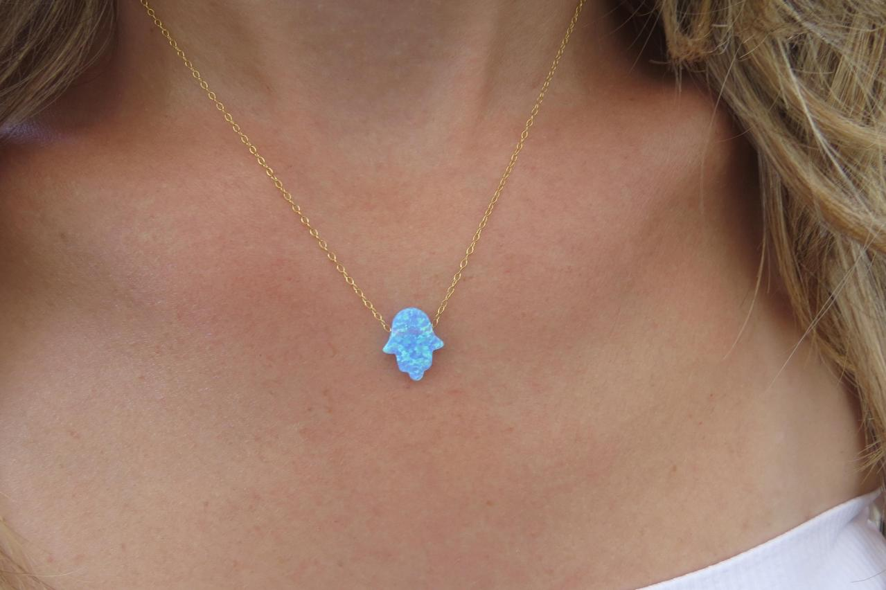 Hand necklace, Gold necklace, Opal hamsa necklace, Hand pendant, Bridesmaid necklace, Charm necklace, Jewelry gift, Opal jewelry