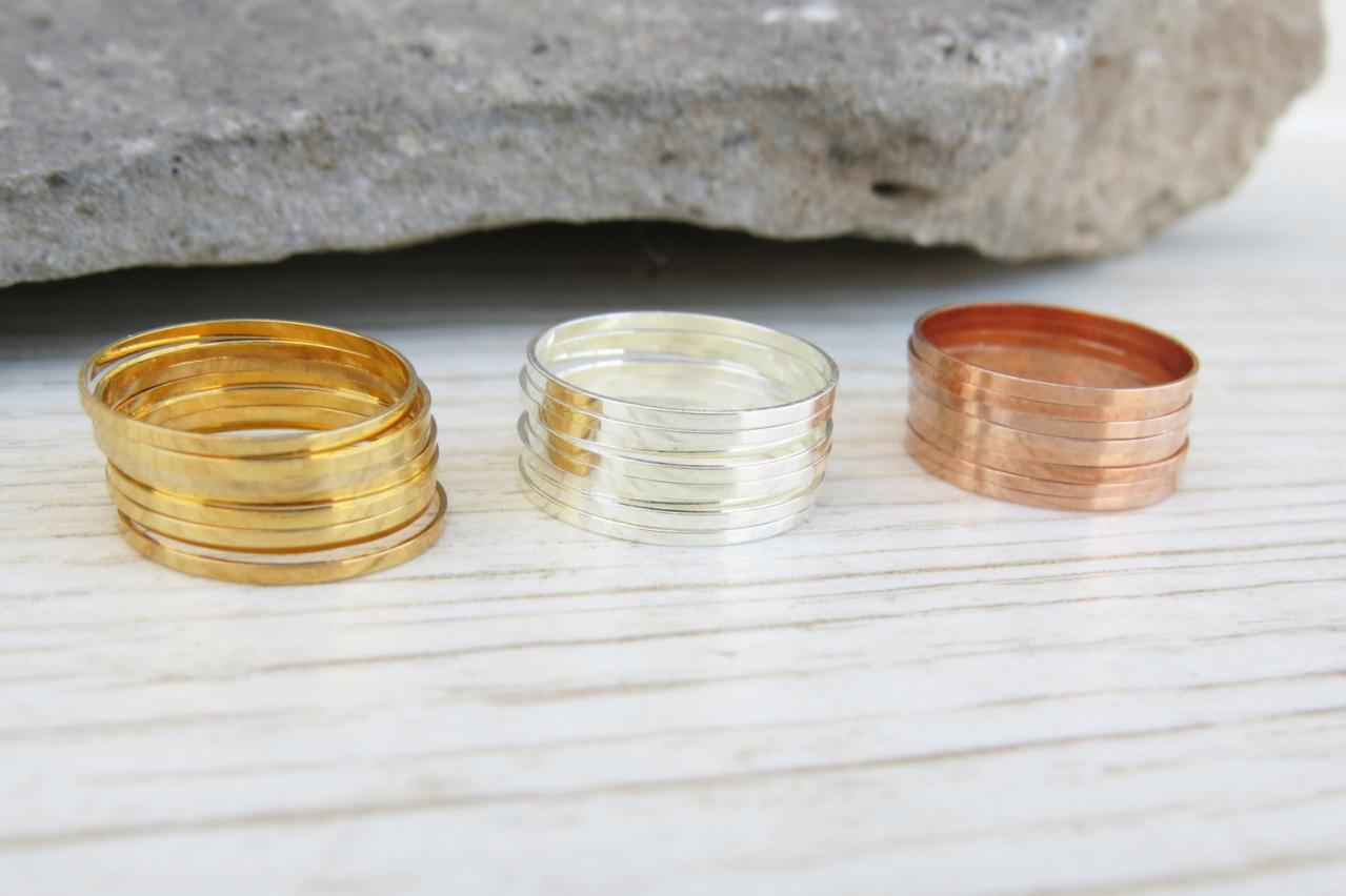Stacking Rings, Gold ring, Thin midi rings, Set of 24 stack knuckle rings, 3 sets of 8 stacking ring, Silver ring, Rose gold ring, Gifts