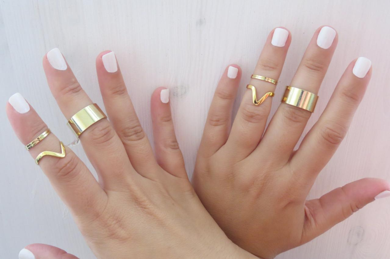 Set of 8 gold rings - Gold ring, Stacking rings, Knuckle Ring, Midi gold rings, Cuff ring, Chevron ring, Gold jewelry, Gift for her