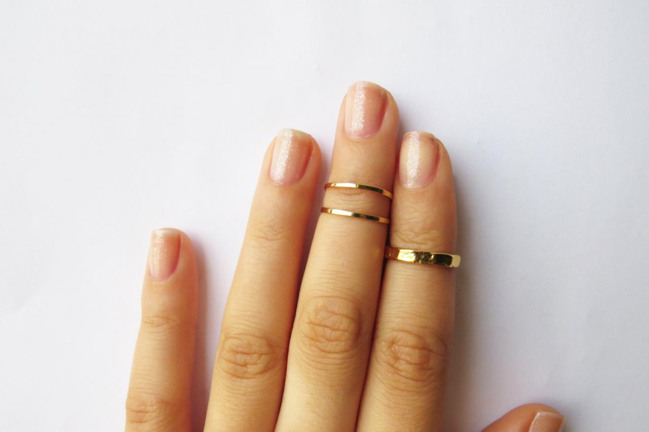 Gold Knuckle Rings - Gold Stacking rings, Thin gold shiny bands, Set of 3 stack midi rings, Wire ring, Gold accessories
