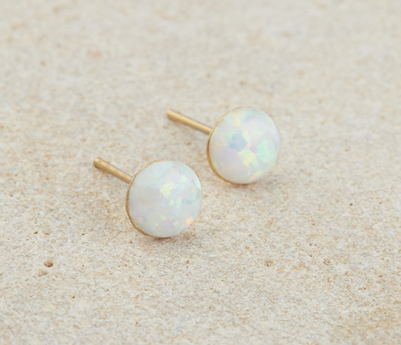 Opal Stud Earrings Gold October Birthstone Round Tiny White Post
