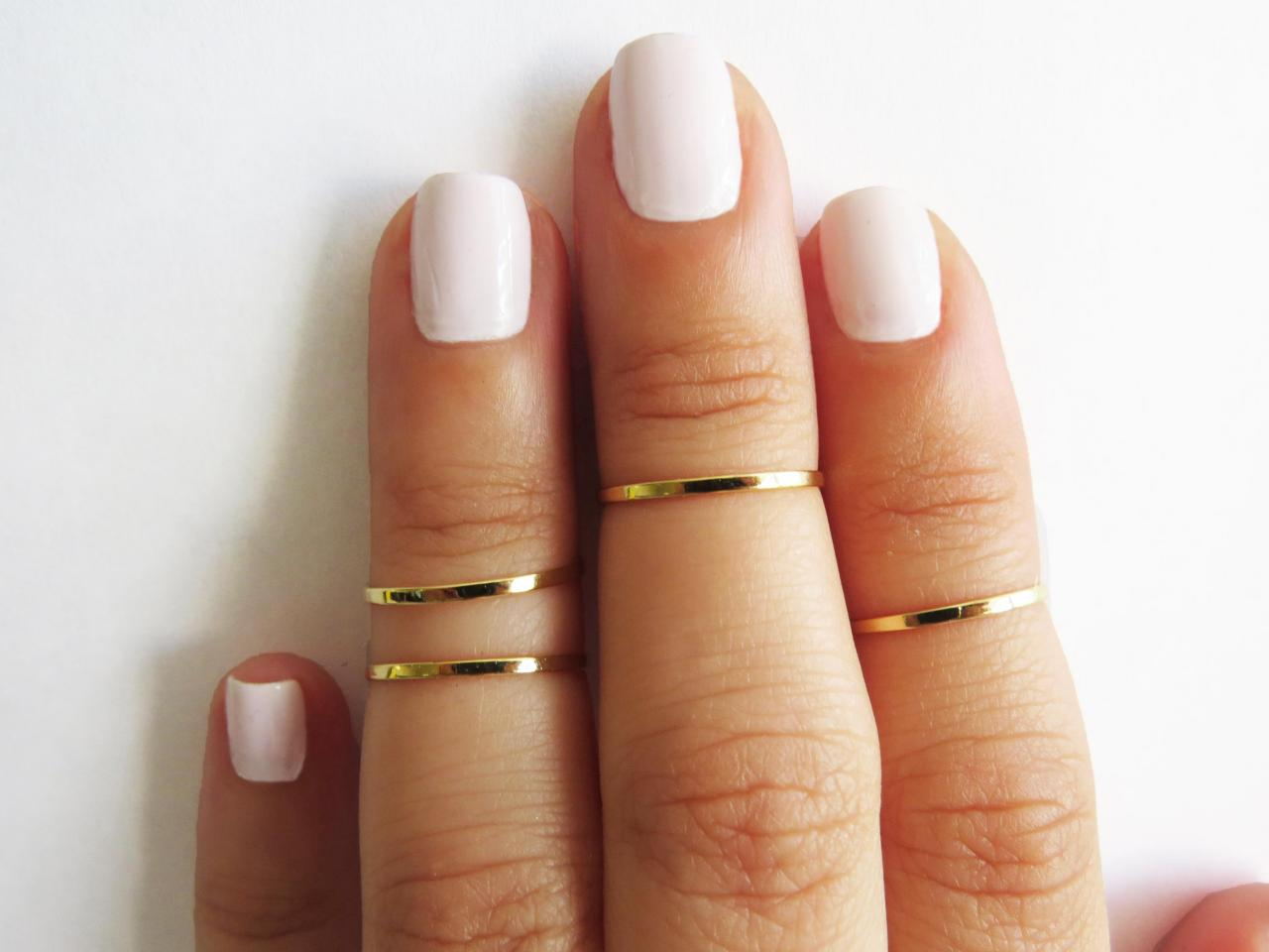 Gold Ring - Stacking rings, Knuckle Ring, Thin gold shiny bands, Set of 4 stack midi rings, Gold jewelry, Wire ring, Gold accessories