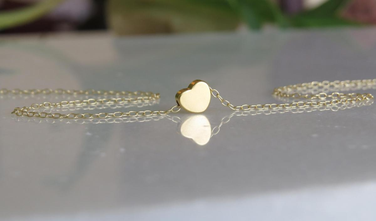 Gold Necklace Tiny Heart Necklace Small Heart Necklace Simple