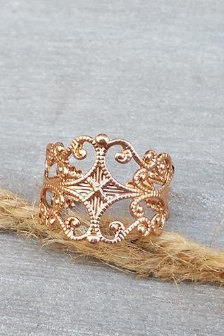 Gold ring - Rose gold filigree ring, Adjustable ring, Statement ring, Gold rose band ring, Bridesmaid gift, Floral ring, Rose gold jewelry