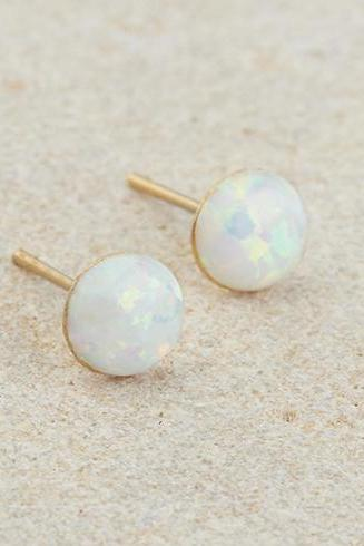 Opal stud earrings, Gold stud earrings, October Birthstone, Gold round earrings, Tiny earrings, White opal, Post earrings, Gold earrings