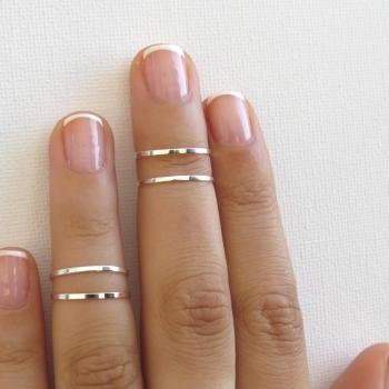 Silver Knuckle Rings - Silver Stacking rings, Thin silver shiny bands, Set of 4 stack midi rings, Wire ring, Silver accessories