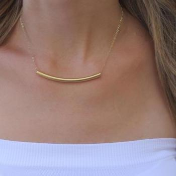 Gold necklace - Bar necklace, Gold curve necklace