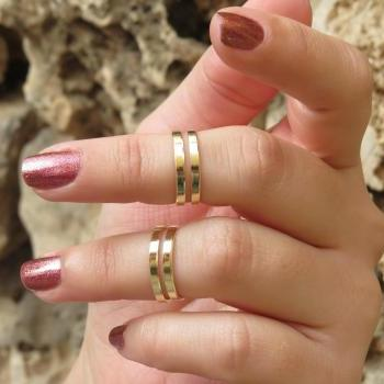 Goldfilled stacking ring, Gold ring, Knuckle ring, Gold midi ring, Ring set of 2 adjustable rings, Unique gift
