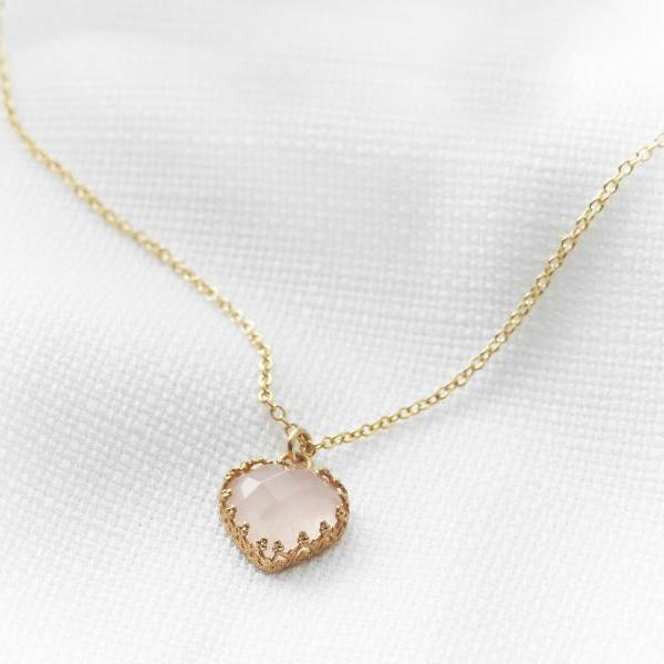 Gold heart necklace, Pink rose quartz stone, Vintage necklace, Bridal gold jewelry, Dainty necklace, Birthday gift, Unique gold necklace