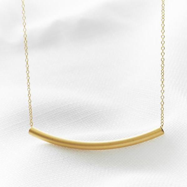 Gold bar necklace, Curve necklace, Gold tube necklace, Delicate gold jewelry, Modern necklace, Jewelry gift, Simple gold necklace