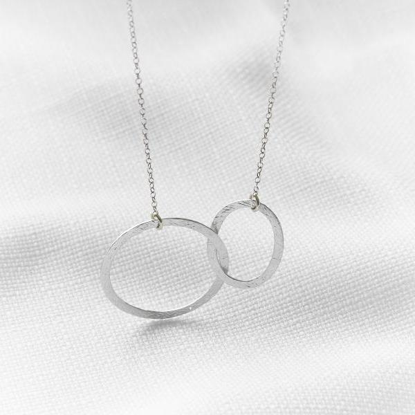 Silver circle necklace, Eternity silver necklace, Simple silver jewelry, Infinity necklace, Friendship necklace, Gift idea