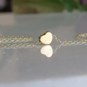 Gold necklace - Tiny heart necklace, Small heart necklace, Simple gold heart necklace, Little gold heart, Gold jewelry, Dainty gold necklace