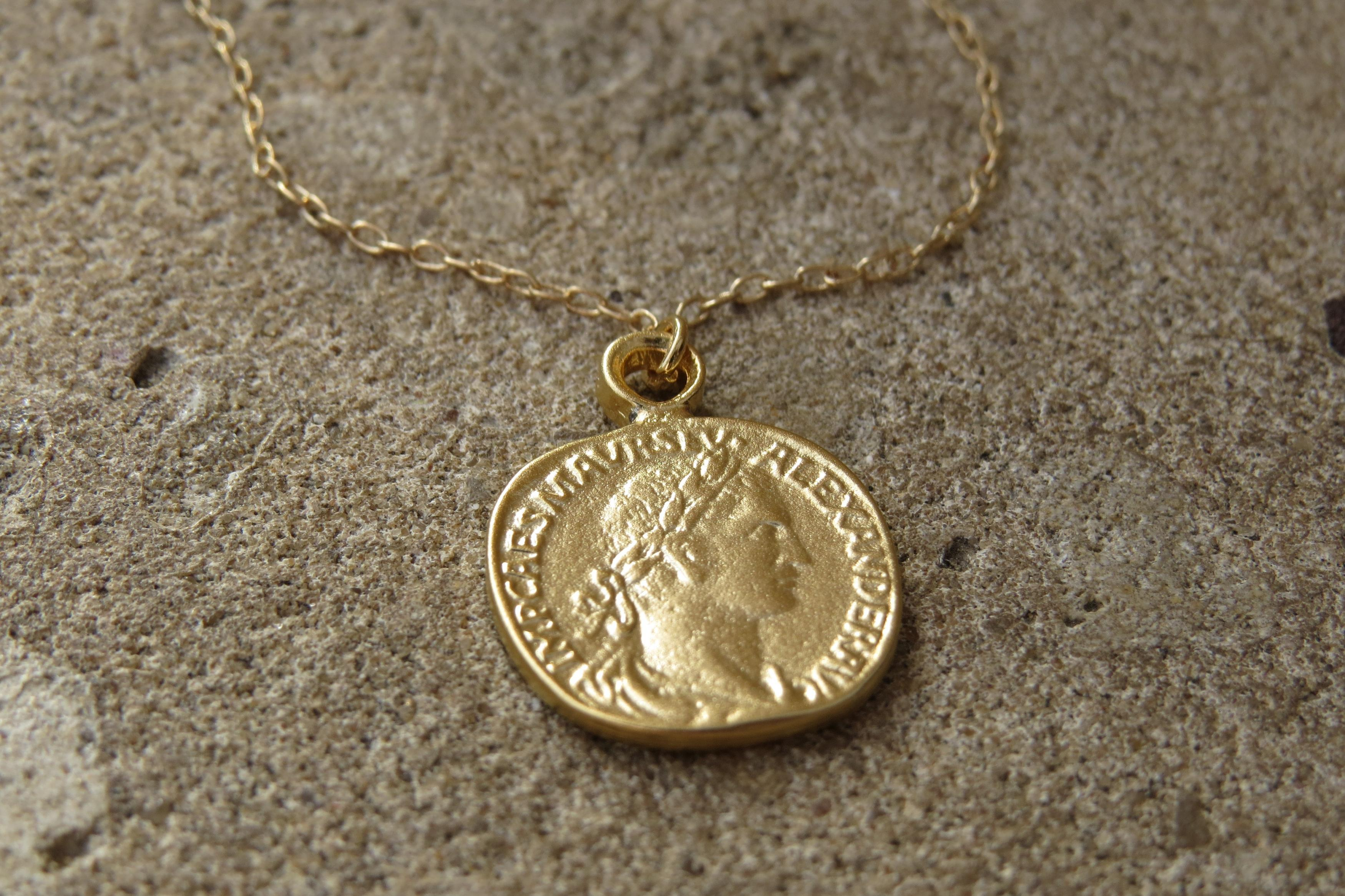 golden etsy coin necklace il ca market gold