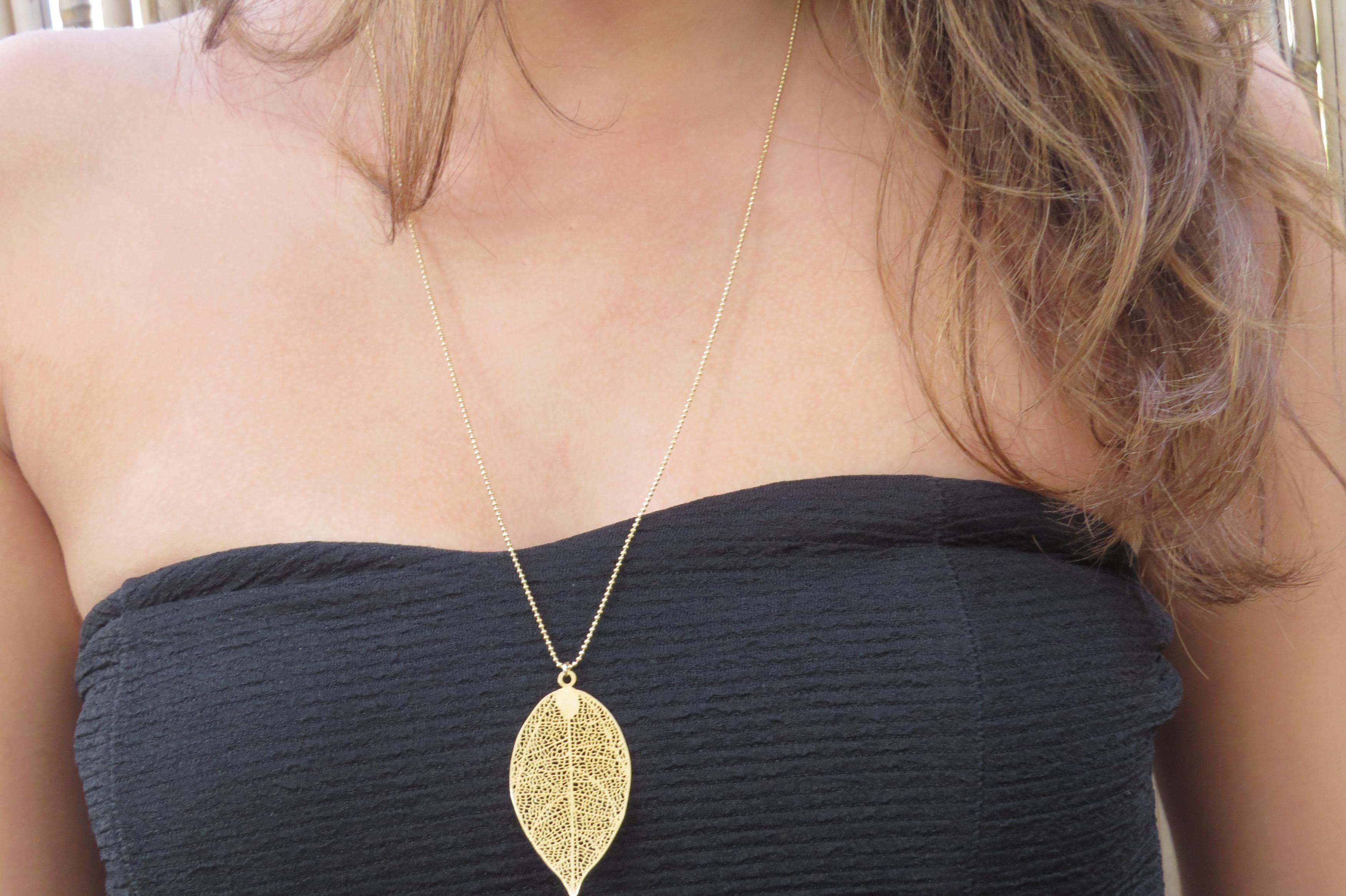Gold Long Necklace Gold Leaf Necklace Filigree Leaf