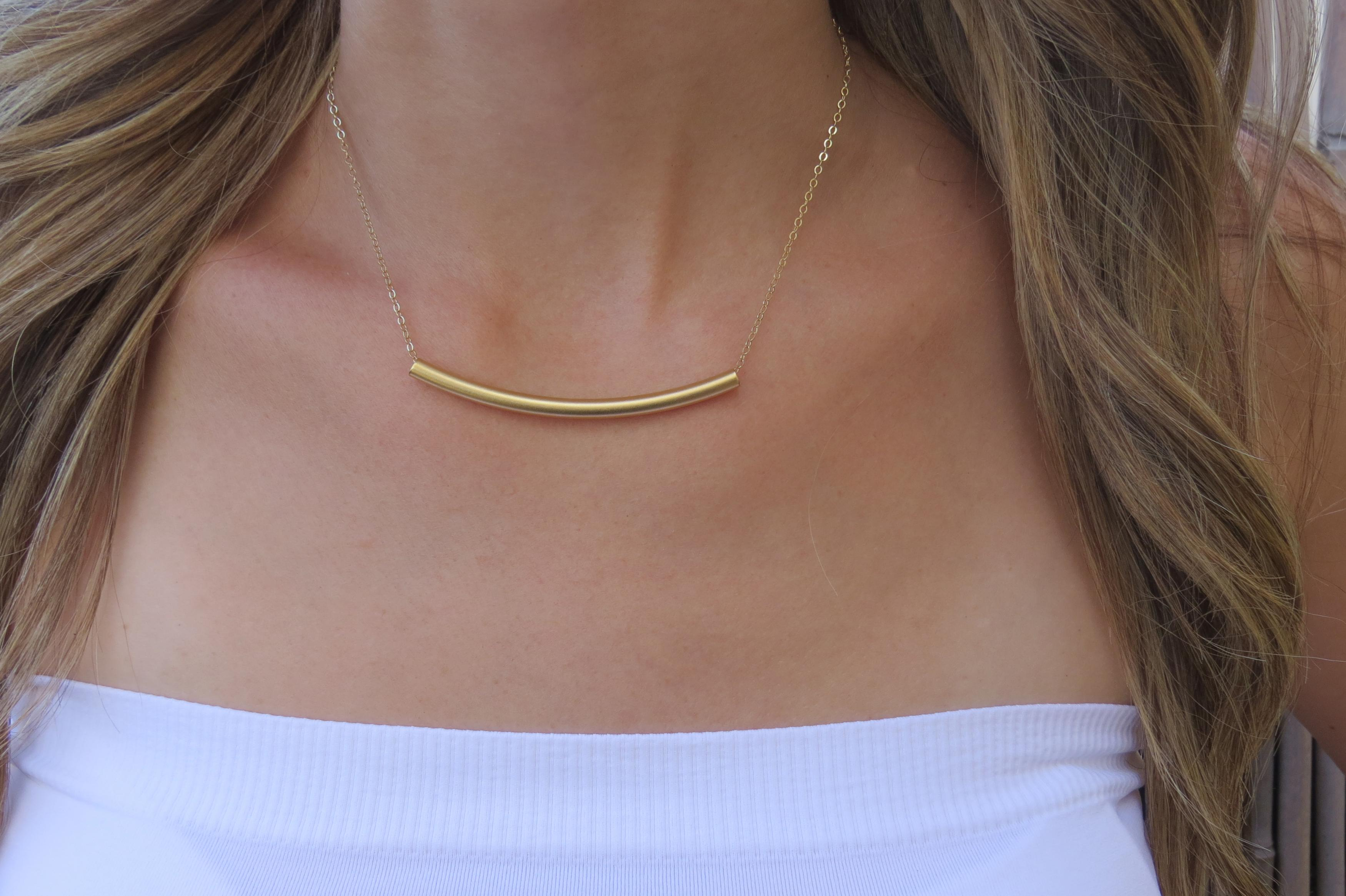 minimalist mini pin thin necklace bar skinny pendant gold