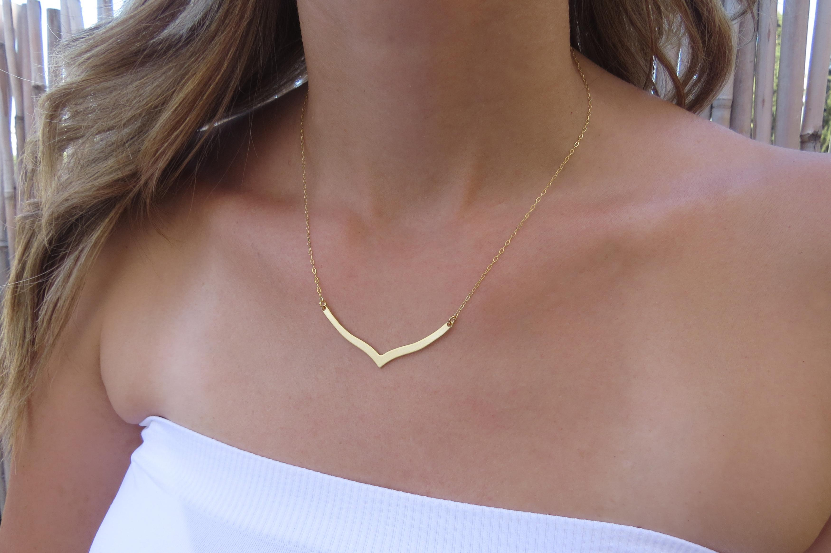 handmade gold necklace pin dainty minimalist solid simple nugget