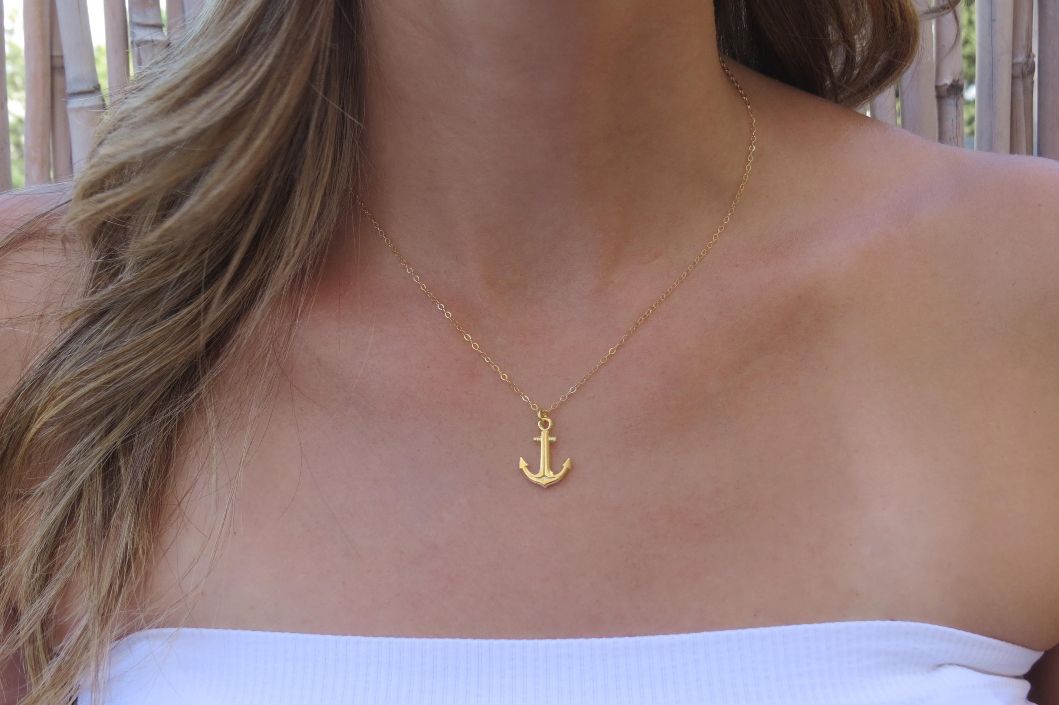 Gold Necklace Gold Charm Necklace Anchor Necklace Bridesmaids