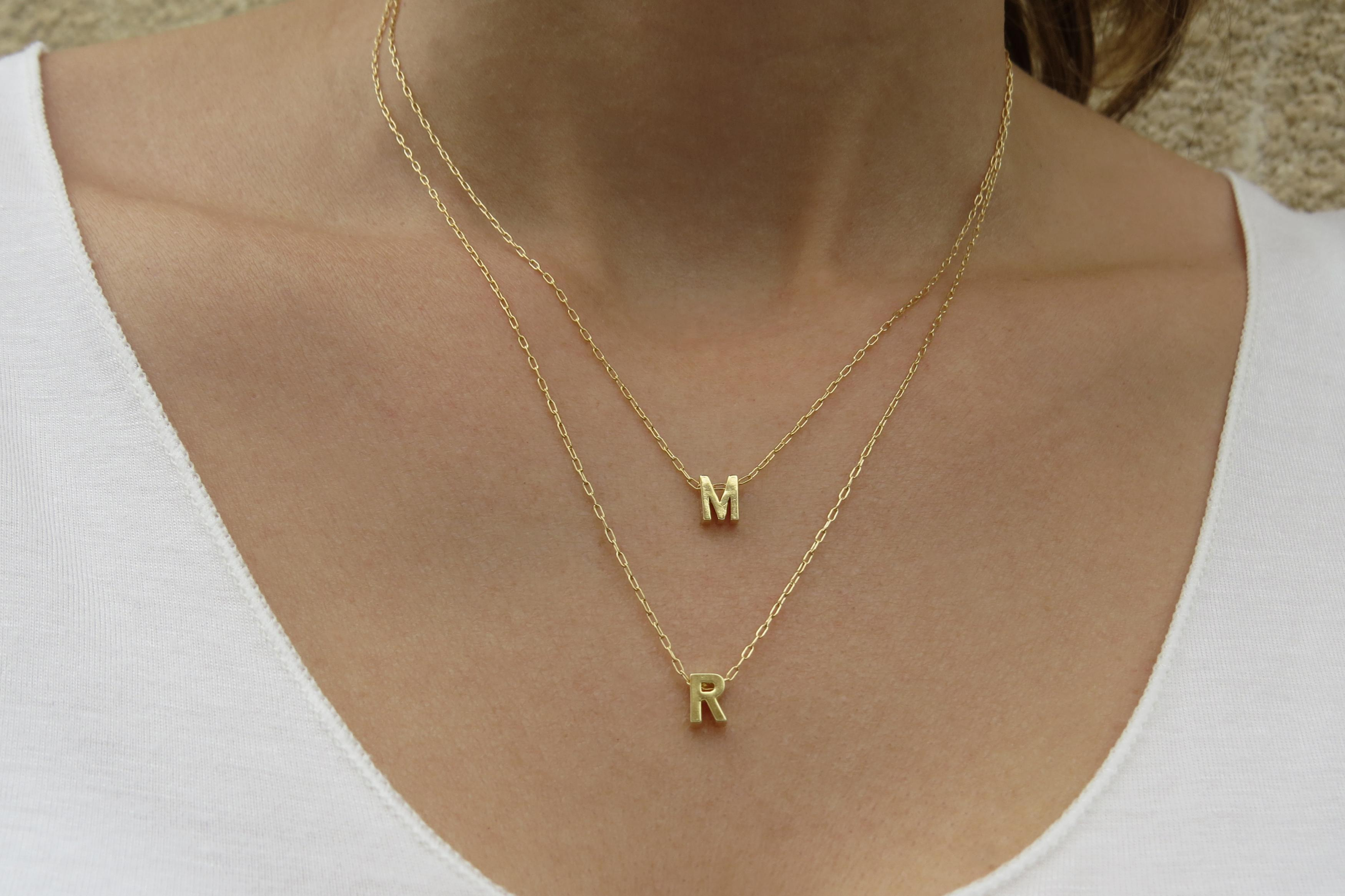 necklace letter diamond and gold delicate block