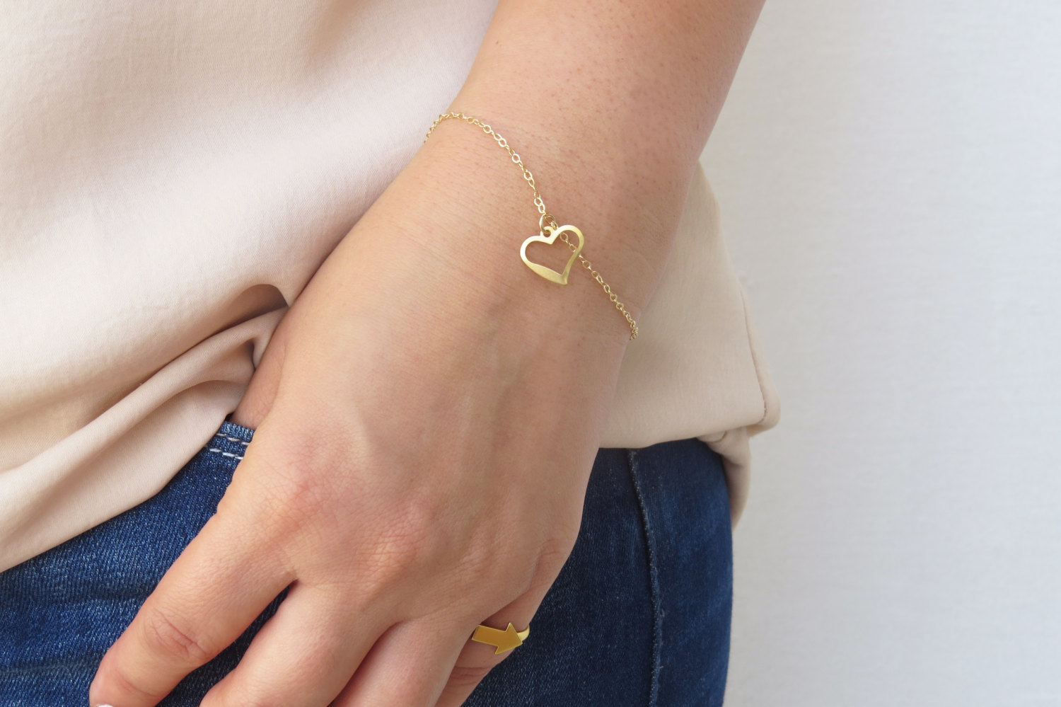 Gold Bracelet Heart Tiny Simple Jewelry Dainty Bridesmaid Gift