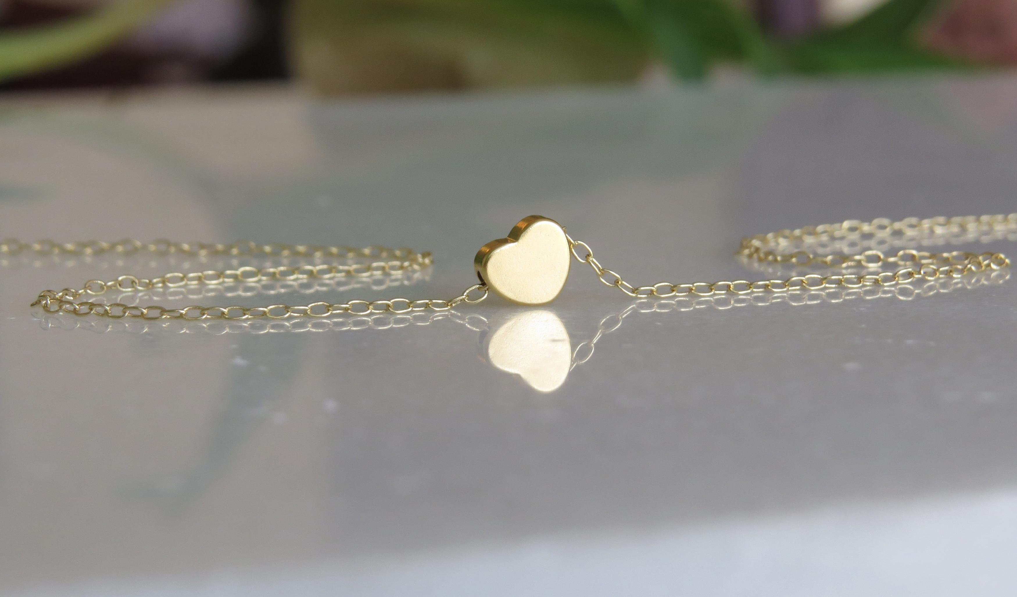Gold Necklace Tiny Heart Small Simple Little Jewelry Dainty